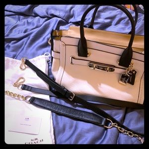 Coach Swagger 27 Ivory Colorblock pebbled leather